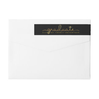Graduate Handwritten Gold Shimmer Script Wrap Wrap Around Label