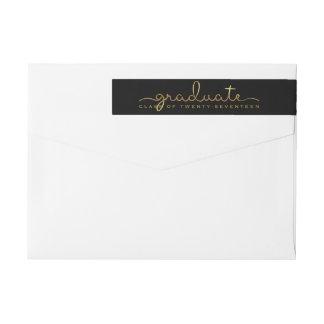 Graduate Handwritten Gold Shimmer Script Wrap Wraparound Return Address Label