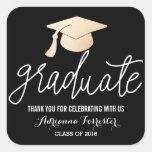 Graduate Handwritten Script | Hat Thank You Black Square Sticker