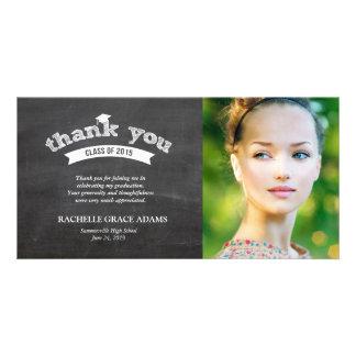 Graduate Hat Chalkboard Graduation Thank You Card Personalized Photo Card