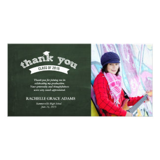 Graduate Hat Chalkboard Graduation Thank You Card Photo Greeting Card