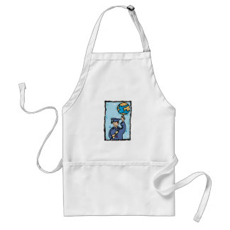 Graduate holding up the world aprons