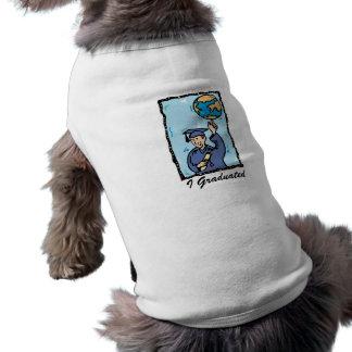 Graduate holding up the world doggie t-shirt