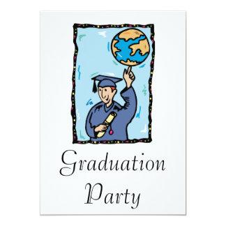 Graduate holding up the world 13 cm x 18 cm invitation card