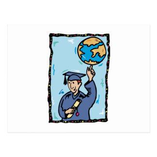 Graduate holding up the world postcard