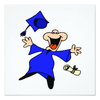 Graduate Jumping for Joy 13 Cm X 13 Cm Square Invitation Card