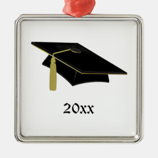 Graduate Mortarboard and Tassle in Black and Gold Christmas Ornament