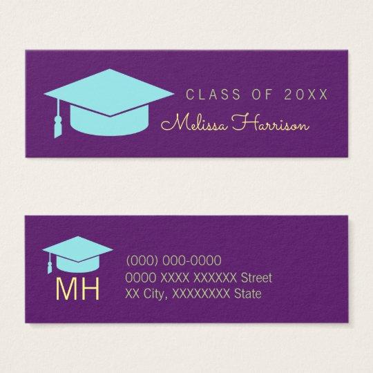 graduate name card, elegant class of, purple mini