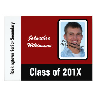 Graduate of 2012 with  Photo Black, Red & White 14 Cm X 19 Cm Invitation Card