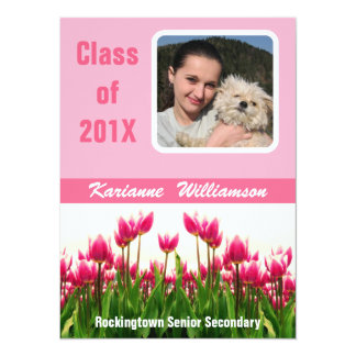Graduate of 2012 with  Photo  Pretty Pink Tulips 14 Cm X 19 Cm Invitation Card