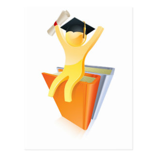 Graduate on books with diploma postcard