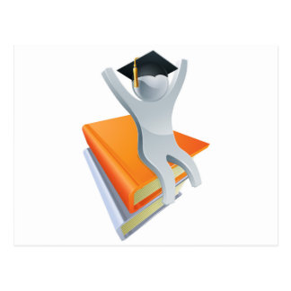 Graduate on giant books postcard