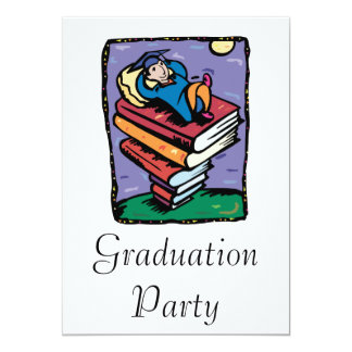 Graduate on stack of books 13 cm x 18 cm invitation card