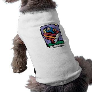 Graduate on stack of books doggie tee shirt