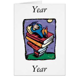 Graduate on stack of books note card