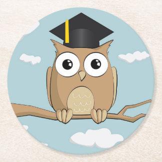 Graduate Owl Round Paper Coaster