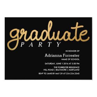 Graduate Party Faux Gold Foil Chevron Pattern 13 Cm X 18 Cm Invitation Card