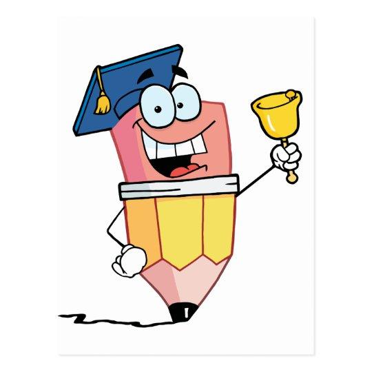 Graduate Pencil Cartoon Character Ringing A Bell Postcard