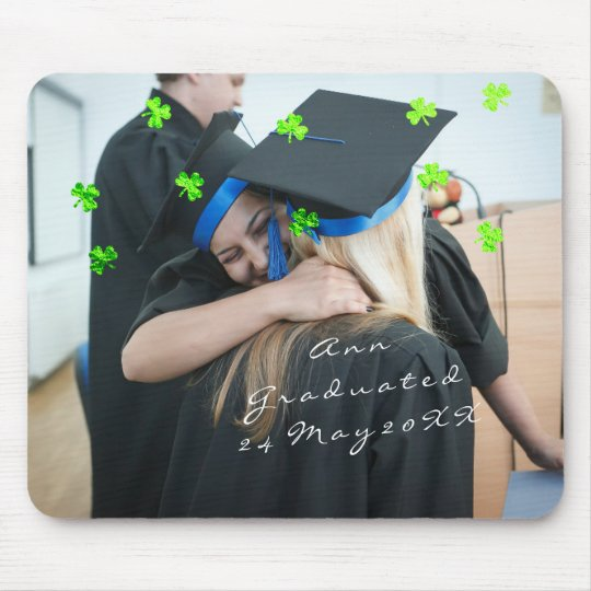 Graduate Photo Name Custom, Clover Confetti Green Mouse