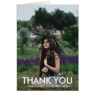 Graduate Photo Thank You Modern Typography Greeting Card