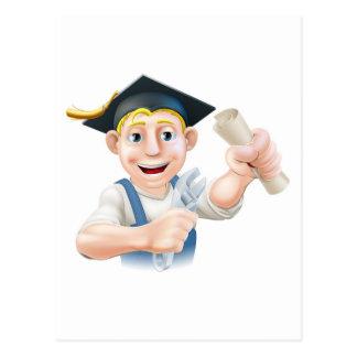 Graduate plumber or mechanic postcards