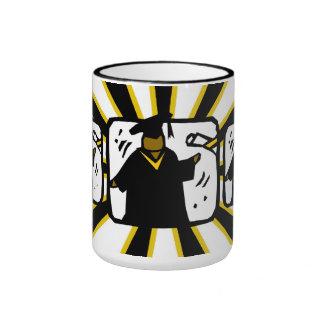Graduate Receiving Diploma 1 Black Gold Mugs