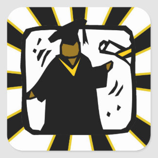 Graduate Receiving Diploma (1) Black & Gold Square Sticker