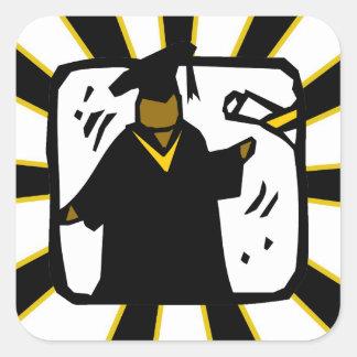 Graduate Receiving Diploma (1) Black & Gold Stickers