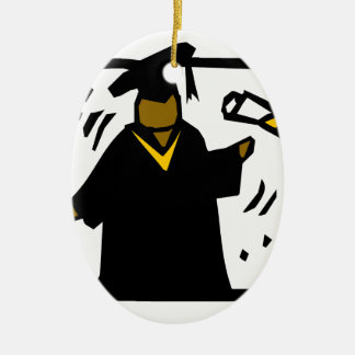 Graduate Receiving Diploma (1) Double-Sided Oval Ceramic Christmas Ornament