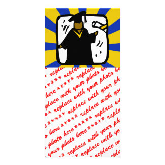 Graduate Receiving Diploma 1 Gold Blue Picture Card