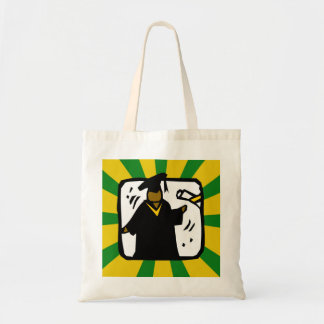 Graduate Receiving Diploma (1) Green & Gold Budget Tote Bag