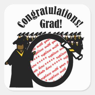 Graduate Receiving Diploma (1) Photo Frame Square Sticker