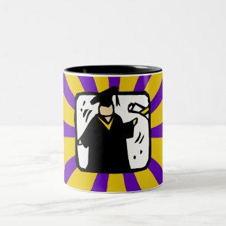 Graduate Receiving Diploma (2) Purple & Gold Two-Tone Coffee Mug