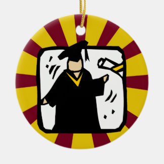 Graduate Receiving Diploma (2) Red & Gold Double-Sided Ceramic Round Christmas Ornament