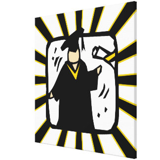 Graduate Receiving Diploma - Black & Gold Gallery Wrap Canvas
