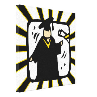Graduate Receiving Diploma - Black & Gold Stretched Canvas Prints