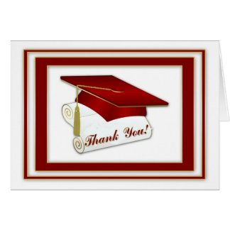 Graduate Red Thank You Greeting Card