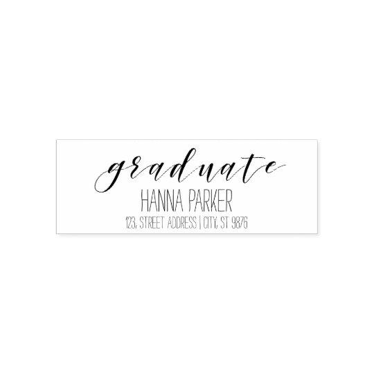 Graduate rubber custom stamp | return address
