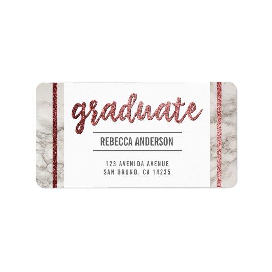 Graduate Script   Chic Rose Gold Glitter on Marble Address Label