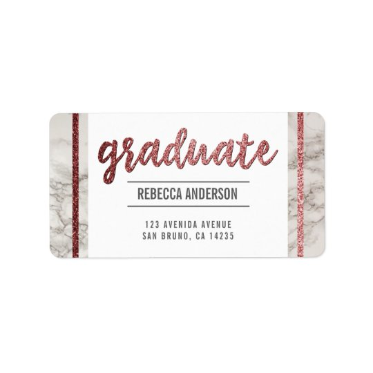 Graduate Script | Chic Rose Gold Glitter on Marble Label