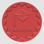 Graduate Sign Red Wax Seal Sticker