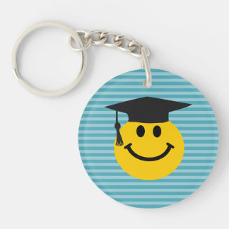 Graduate smiley face Double-Sided round acrylic key ring