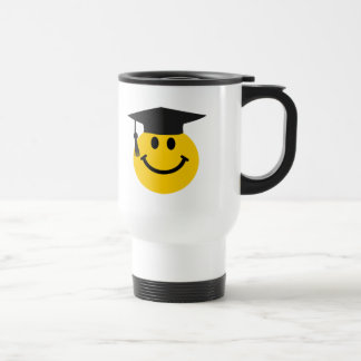 Graduate smiley face stainless steel travel mug