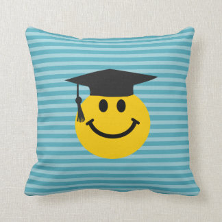 Graduate smiley face throw pillow