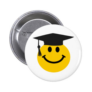 Graduate Smiley face with graduation hat 6 Cm Round Badge