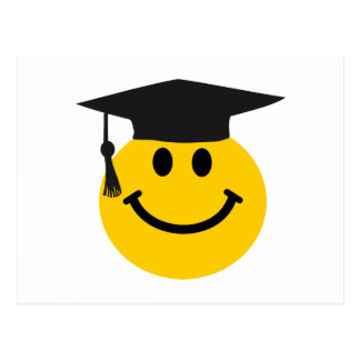 Graduate Smiley face with graduation hat Post Cards