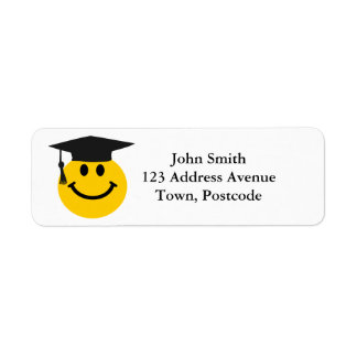 Graduate Smiley face with graduation hat Return Address Label