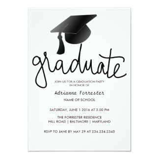Graduate Typography Simple Black Graduation Hat 13 Cm X 18 Cm Invitation Card