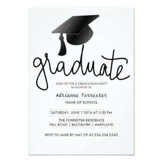 Graduate Typography Simple Black Graduation Hat Card