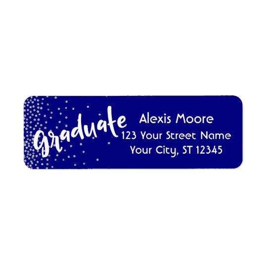 """Graduate"" w/ Silver Confetti Over Navy Return Address Label"